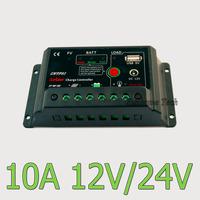 10A 12V 24V Auto intelligence Solar Charge Controller with DC 12V output 5V USB port