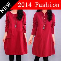 Autumn 2014 New Fashion Plus Size Women Clothing Dress Long Sleeve Casual Dress Vestidos Femininos Winter Red Dresses 1120H