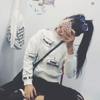 2015 Fashion Korea letter logo high turtleneck women hoodies sweater