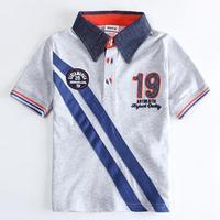 Wholesale Children T shirt Gray Sportswear Turn-down Collor T shirts Child Boy's Clothing Summer T-shirt for Boys Kids Wear