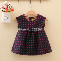 2014 New Arrival Winter Girl's Dress Woolen Children's Vest Skirt Kids Dress Sleeveless
