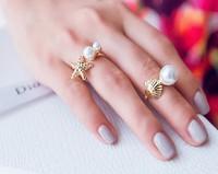 ZH0996 Fashion New 2014  Starfish Pearl Ring set for women 2pcs/set