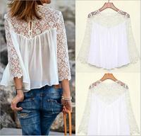 Dresses New Fashion 2014 Autumn Women Flower Print Chiffon Casusal Long sleeve T Shirts Plus Size Sexy Lace Blouse TOPS WHITE