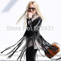 Europe And America Tide Models Locomotive Horsehair Tassels Bat-Type Cardigan Jacket,Women's Short Coat