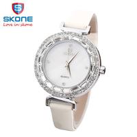 3SK07 SKONE Brand Bright crystal Dial Quartz Wristwatch For Women Dress Watches Leather Strap Watch Analog Clock