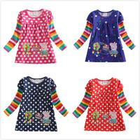 Nova children peppa pig casual t-shirt girl's fashion t shirt clothing autumn winter hot sell baby clothes t shirts tunic top