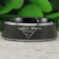 Free Shipping USA UK Canada Russia Brazil Hot Sales 8MM Shiny Black Silver Bevel Superman Men's Comfort Tungsten Wedding Ring