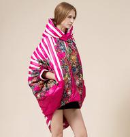 Free shipping warm winter down coat jacket women striped flower printed Dovetail hooded parka casaco feminino inverno 2014