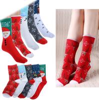 2014 New Fashion Christmas Gift Snowflake Deer Design Womens Wool Socks Warm Winter Autumn Cute Comfortable 6 Colors Wholesale
