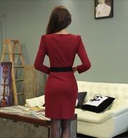 korean style Women Dress Summer 2014 Warm Bottoming Dresses V-neck Cotton Long-sleeved Package hip Dress send belt