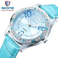 3SK05 Skone Brand Luxury watches for Women Fashion Genuine leather Watch, Woman diamond wristwatches 2014 New female watch