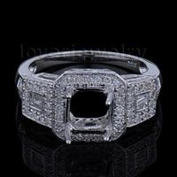Romantic Engagement Princess 6mm 14kt White Gold Natural Diamond Semi mount Ring SR0071J