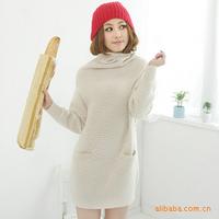 New Korean women turtleneck sweater dress coat loose knit pineapple pattern