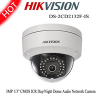 Hikvision IP Camera DS-2CD2132F-IS 3MP 1/3''CMOS Dome Network Infrared CCTV Audio Camera support Micro SD/SDHC/SDXC card (64G)