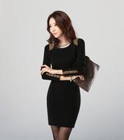 New korean style Women Dress Summer 2014 Warm Bottoming Dresses Cotton Long-sleeved Package hip Dress