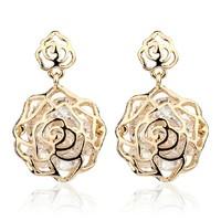 Wedding Jewelry Women Drop Earrings Bijoux 18K Rose Gold Plate Alloy Austrian Crystal Rhinestone Flower Earring SX-A0062