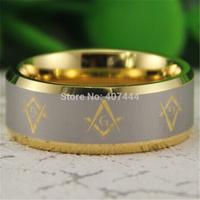 Free Shipping USA UK Canada Russia Brazil Hot Sales 8MM 18K Golden Bevel Freemason Masonic Men's Comfort Tungsten Wedding Ring