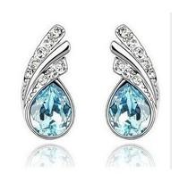 CE11 optional fashion Multicolor Austria Crystal Clear Sheet stud earrings Rhinestone earrings complete wholesale
