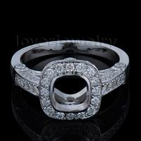 Nice Engagement Cushion 6x6mm In 14Kt White Gold Diamond Wedding Semi mount Ring WU245