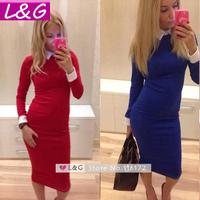 L&G Fashion Women Winter Dress 2014 Hot Selling Sexy Slim Long Sleeve Office Dresses Women Work Wear Casual Party Vestidos 10266