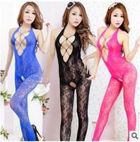 Erotic sexy sheer lace netting open bra crotch Costumes pron Sexy Dress G-String Siamese stockings set #XL-031