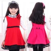 New Year Christmas Winter Girls vest dress Kids Woolen cloth party dresses  Girl Sleeveless princess dress