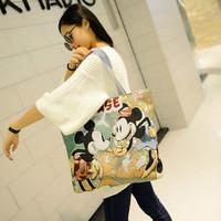 2015 Hot Sale Medium(30-50cm) Cover Women Women Handbag New Sweet Cartoon Girl Embroidered Canvas Bag Shoulder free Shipping