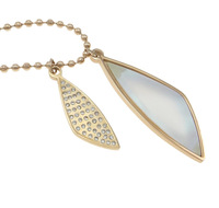 Free shipping!!!Stainless Steel Jewelry Necklace,2014 new fashion girl, with Freshwater Shell, rose gold color plated