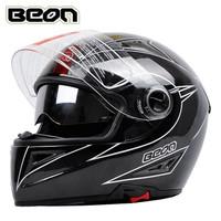 Free shipping!Beon brand motorcycle full face helmet kart racing Carbon fiber double lens helmet with inner sun visor capacete