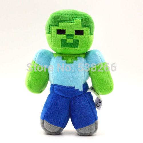 "Fashion Children Soft Plush Toy 18cm/7"" Minecraft Steve Creeper Zombie Ghost Doll Xmas Gift GAME(China (Mainland))"