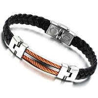 Staineless Steel PU Leather Bracelet for Men