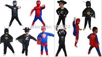 Free Shipping Halloween Costumes for kids Spider-man Superman Batman Zorro Costume Boys Clothing Children Cosplay Spiderman set