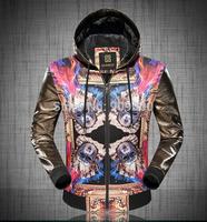 2014 autumn fashion male personality print slim jacket men's clothing outerwear