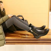 256 2014 autumn fashion flat heel side zipper plus velvet round toe boots women  shoes good quality shoes