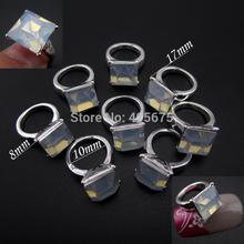 5pcs Nail jewelry nail art 3d rings Opal white Suqare glitter nail charms supplies Gold/Silver MNS742(China (Mainland))