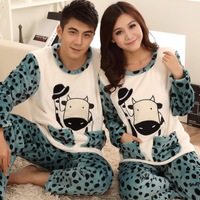 The new autumn and winter clothes at home pajamas couple cute cow head flannel long-sleeved pajamas suits for men and women