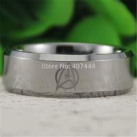 Free Shipping USA UK Canada Russia Brazil Hot Sales 8MM Silver Bevel Star Trek Design Men's Comfort Fit Tungsten Wedding Ring
