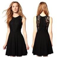 2014 Hot Sale Sexy Sleeveless Lace Patchwork Slim Black MINI Pleated Cocktail Party Women Dress Elegant Vintage Style WZA368