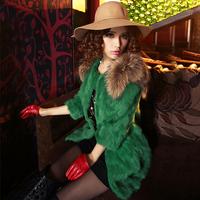 Free shipping 2015 new winter women's leather hare wool cape raccoon fur medium-long plus size really rabbit  fur coat  (S-3XL)