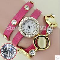 Free shipping 2015 fashion casual 2pcs creative bracelet watch diamond Wristwatches 9 colors