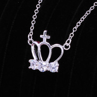 High quality 925 sterling silver fashion jewlery necklace,women noble crystal necklace,wholesale N612