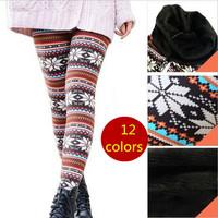 S-XL New Winter Women's Thickening Leggings Top Quality Super Warm Leggings Women Knitted Fitness Print Flowers Leggings Pants