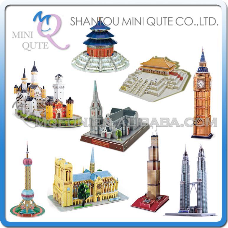 6pcs/lot Mini Qute Large size world architecture 3d paper diy Construction model cardboard jigsaw puzzle educational toy(China (Mainland))
