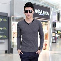 2014 New summer fashion men's slim Screw thread V-neck Long-sleeve T-shirt  Y0596