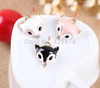 Fashion animal fox head shape jewelry charms fit for diy jewelry making 50pcs/lot gold tone plated oil drop metal bracelet charm