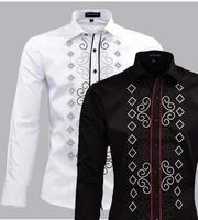 fashion male 100% long-sleeve slim shirt cotton trend national embroidery flower wedding dress men's clothing shirt