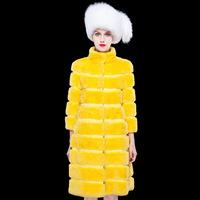 Free shipping European American fashion real rex rabbit fur coat women warm winter long jacket coats elegant star style Outwear