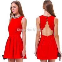 Fashionable women's red dress backless party dress vestido de festa online for sale