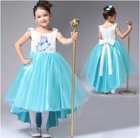Peppa Promotion Chiffon Meninas Vestir 2014 New Christmas Girl Snow Romance Fro Elsa Girls Princess Dress With Tail Gifts