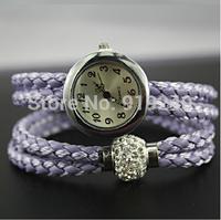 Free shipping 2015 fashion casual 2pcs creative bracelet watch diamond Wristwatches 6 colors--rre